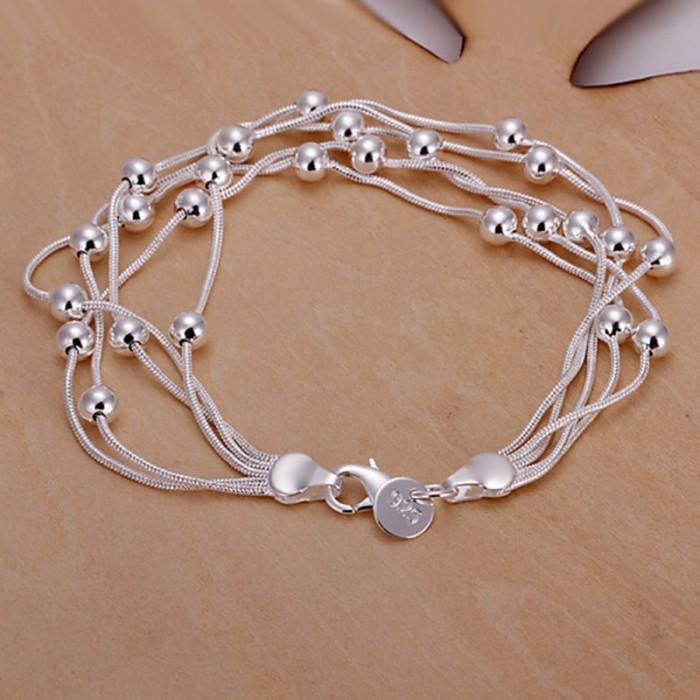 SH234 Fashion Silver Jewelry 5Chain Beads Bracelet For Women