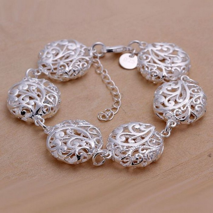 SH235 Fashion Silver Jewelry Flower Round Bracelet For Women