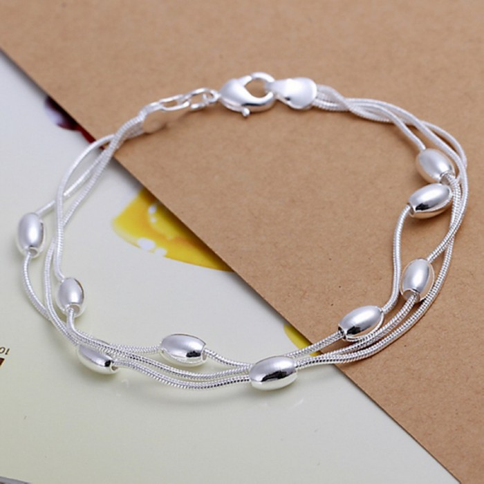 SH236 Fashion Silver Jewelry 3Chain Beads Bracelet For Women