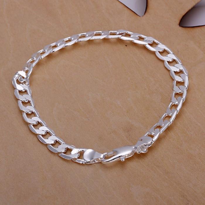 SH245 Fashion Silver Jewelry 6MM Chain Bracelet For Women Men