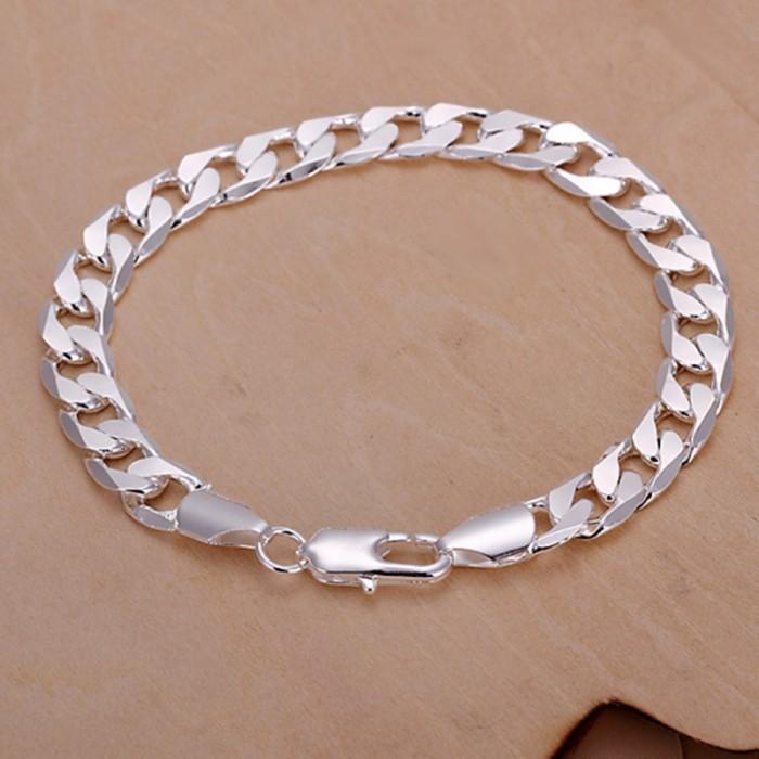 SH246 Fashion Silver Men Jewelry 8MM Chain Bracelet For Women