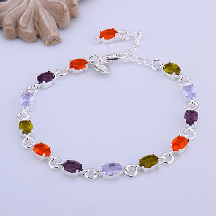 SH258 Fashion Silver Jewelry Colorful Stone Crystal Bracelet
