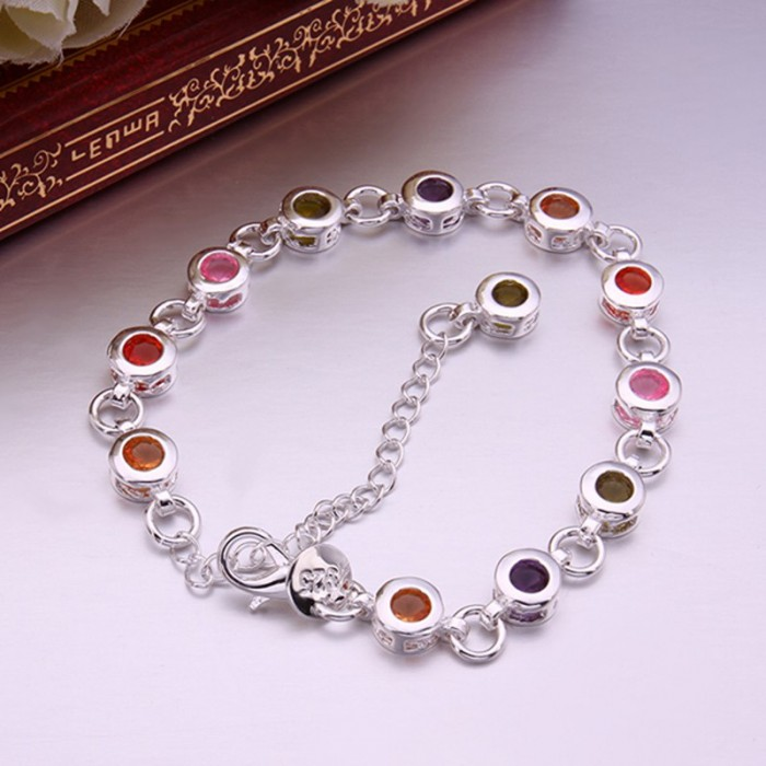 SH259 Fashion Silver Jewelry Colorful Round Crystal Bracelet