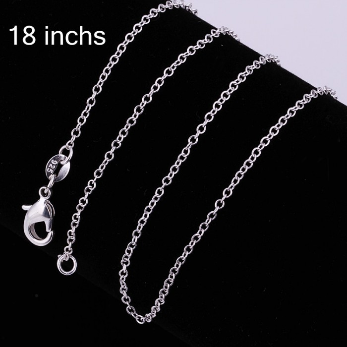 CC001 2Pcs 1mm O Chain 18 Inches Silver Necklace
