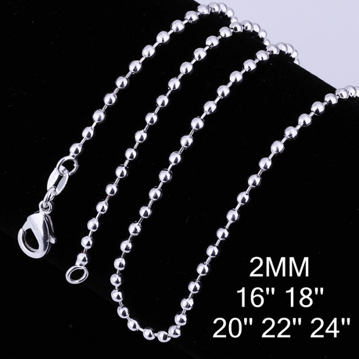 CC002 1Pcs 2mm Bead Chain 16-24 Inches Silver Necklace
