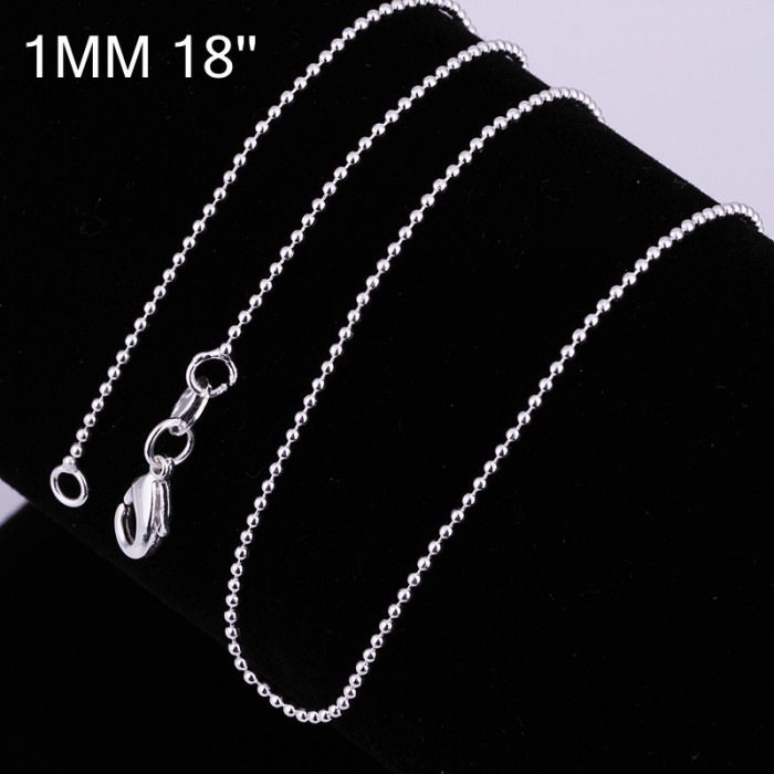 CC004 1Pcs 1mm Bead Chain 18 Inches Silver Necklace