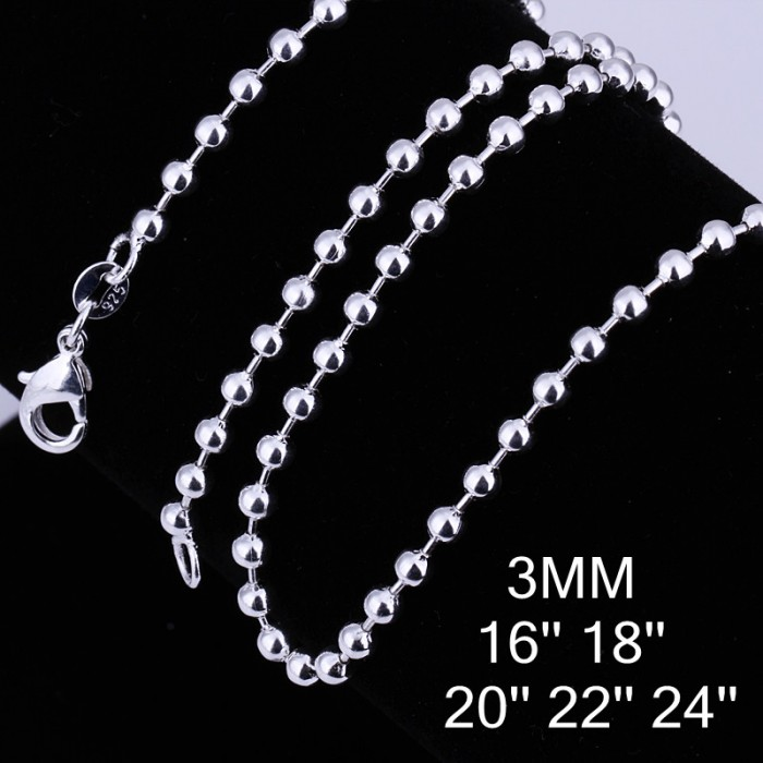 CC006 3Pcs 3mm Bead Chain 16-24 Inches Silver Necklace