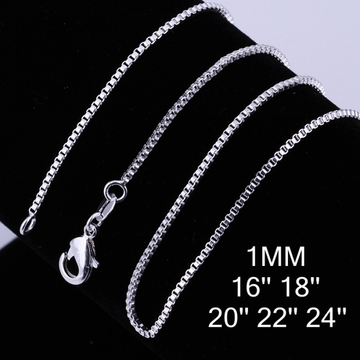 CC007 1Pcs 1mm Box Chain 16-24 Inches Silver Necklace