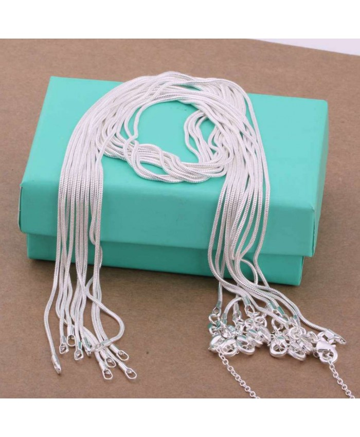 CC008 2Pcs 1mm Snake Chain 16-30 Inches Silver Necklace