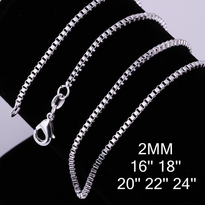 CC009 3Pcs 2mm Box Chain 16-24 Inches Silver Necklace