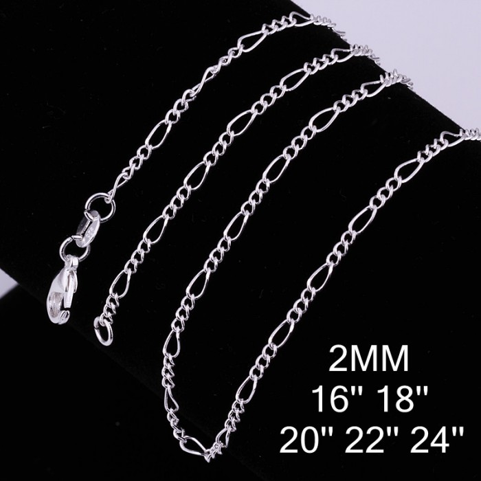 CC013 3Pcs 2mm Chain 16-24 Inches Silver Chain