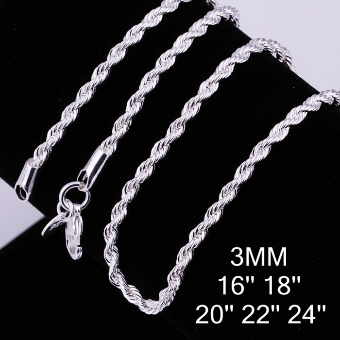 CC014 1Pcs 3mm Rope Chain 16-24 Inches Silver Necklace