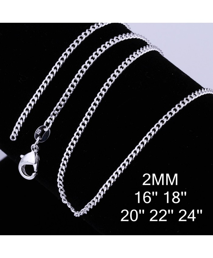 CC015 1Pcs 2mm Chain 16-24 Inches Silver Necklace