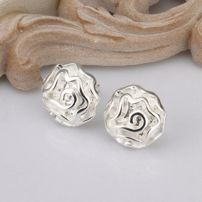 SE003 Silver Jewelry Rose Flower Stud Earrings For Women
