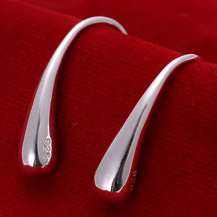 SE004 Silver Jewelry Waterdrop Dangle Earrings For Women