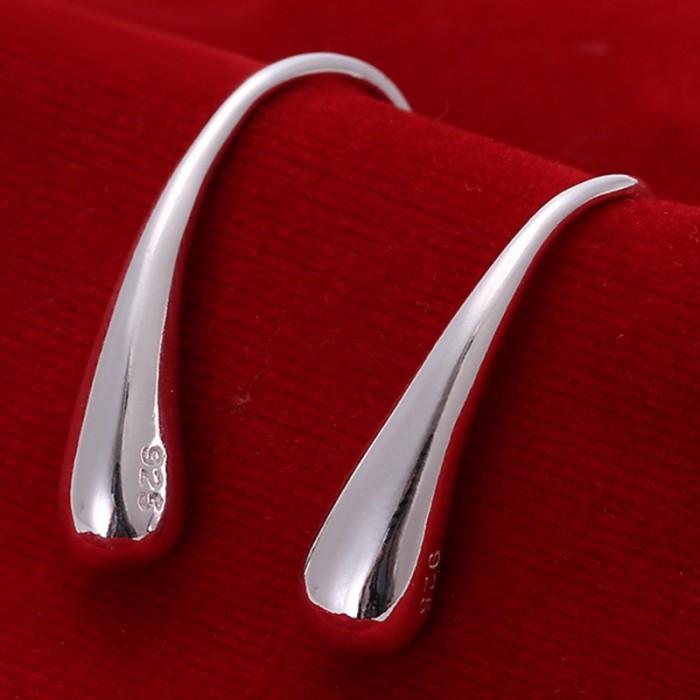 SE004 Silver Jewelry Waterdrop Dangle Earrings For Women