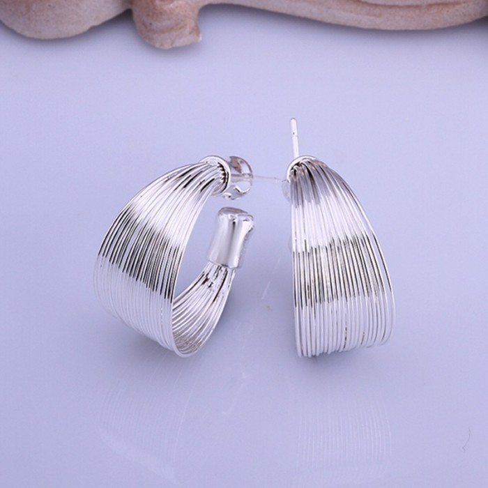 SE005 Silver Jewelry Multi-line Hoop Earrings For Women