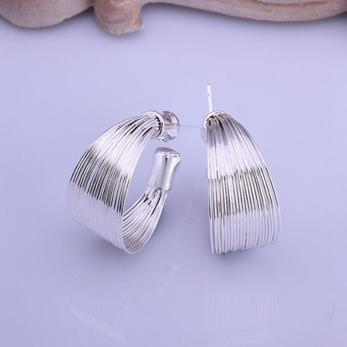 SE005 Silver Jewelry Multi-line Hoop Earrings For Women