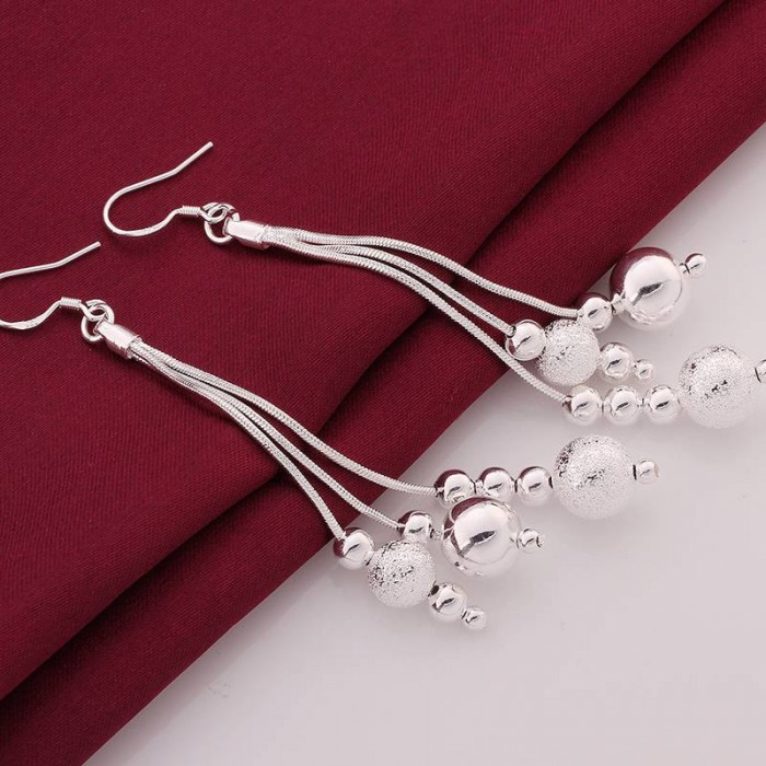 SE006 Silver Jewelry Big 3chain&beads Long Dangle Earrings For Women