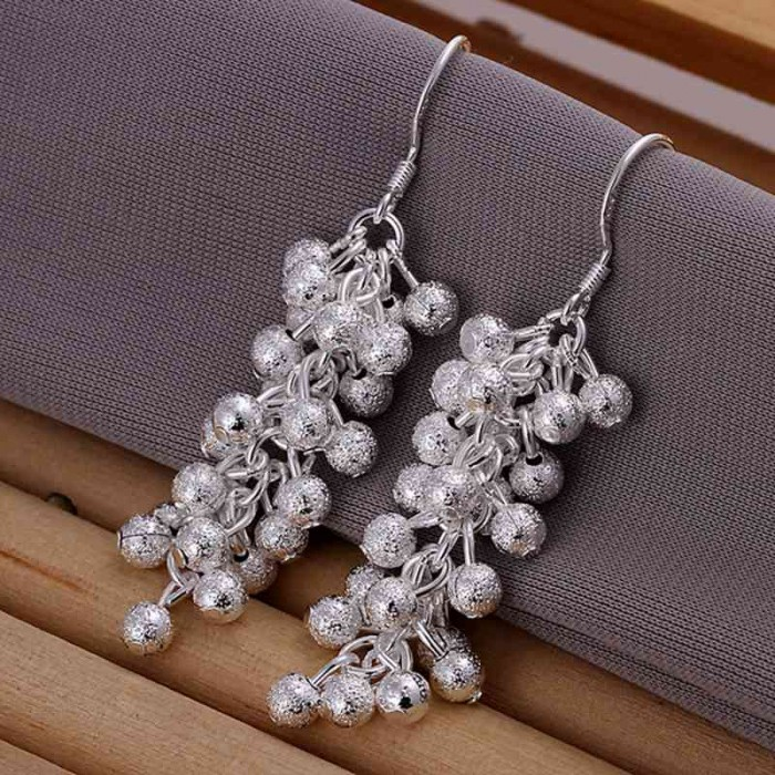 SE007 Silver Jewelry Frosted Grape Dangle Earrings For Women