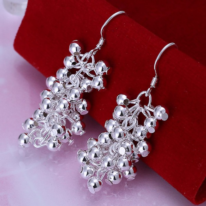 SE008 Silver Jewelry Bright Grape Dangle Earrings For Women