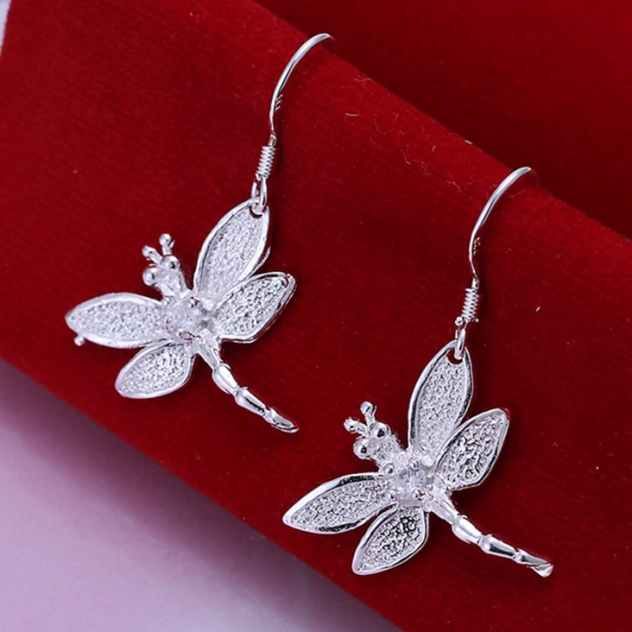 SE009 Silver Jewelry Crystal Dragonfly Dangle Earrings For Women