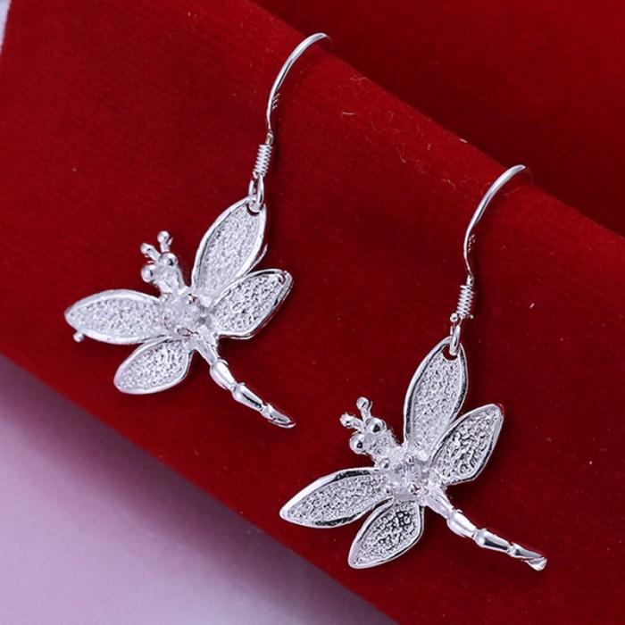 SE009 Silver Jewelry Crystal Dragonfly Dangle Earrings For Women