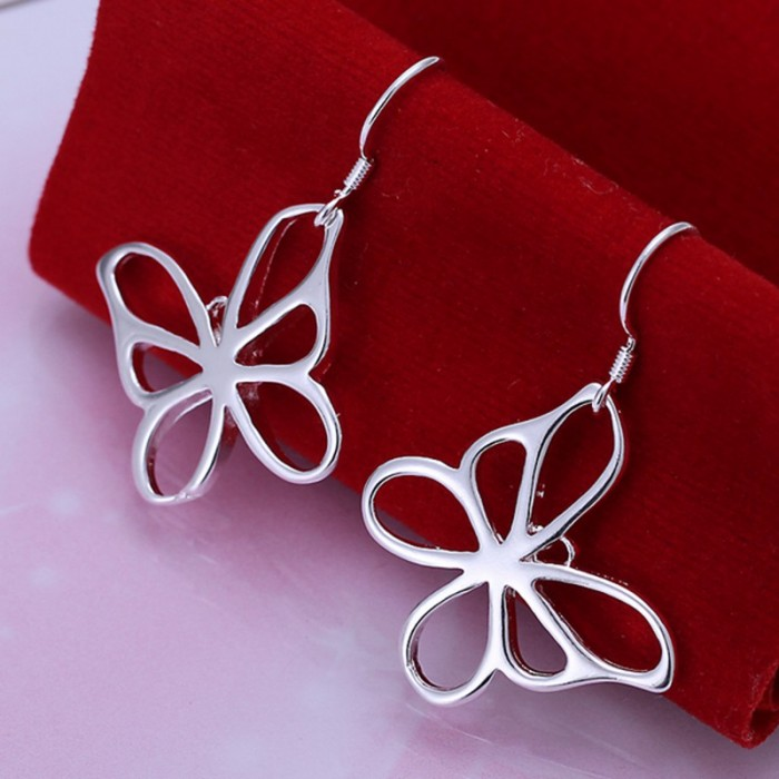 SE011 Silver Jewelry Bright Butterfly Dangle Earrings For Women