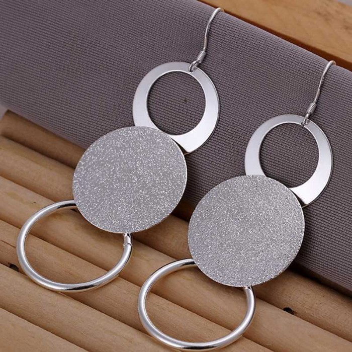 SE012 Silver Jewelry 3Circles Long Dangle Earrings For Women