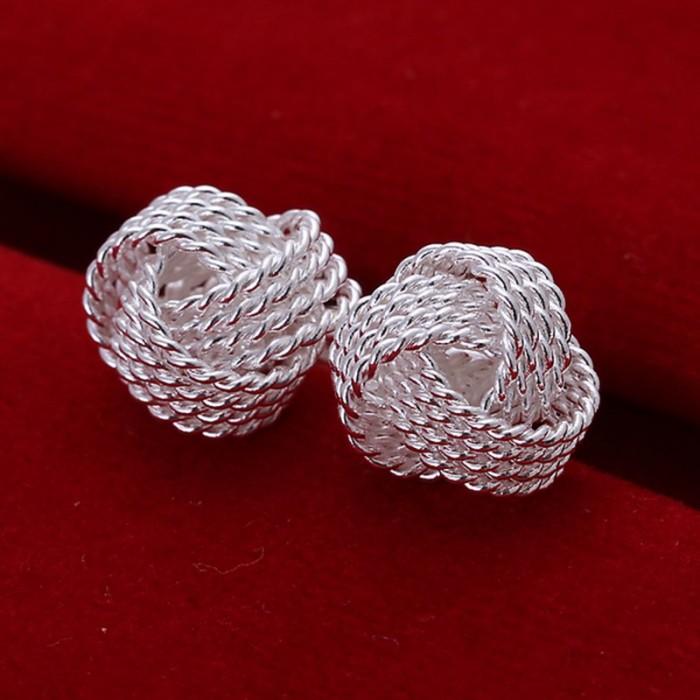 SE013 Silver Jewelry Mesh Ball Stud Earrings For Women