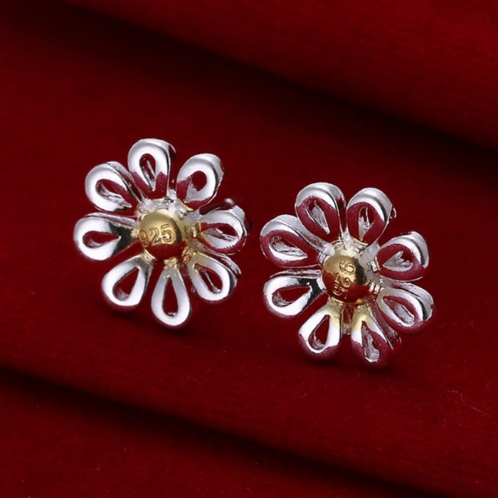 SE014 Silver Jewelry Gold Chrysanthemum Stud Earrings For Women