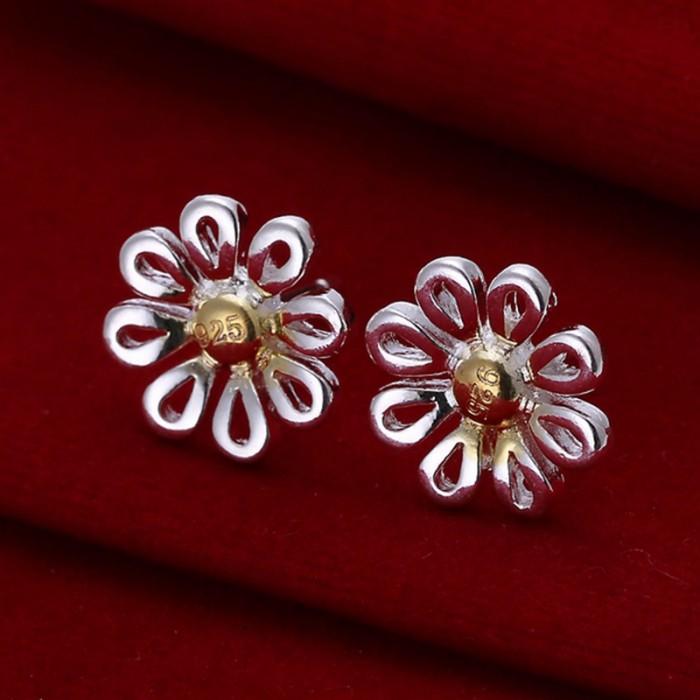 SE014 Silver Jewelry Gold Chrysanthemum Stud Earrings For Women