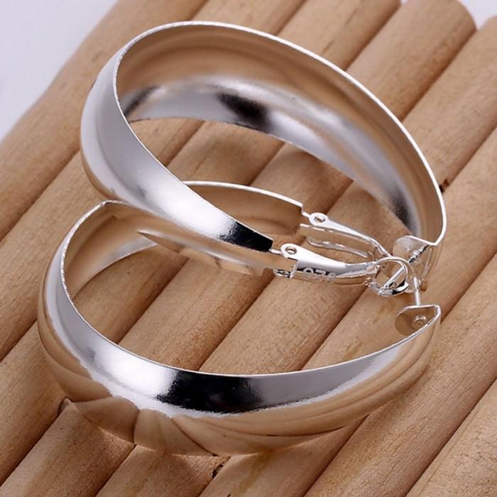 SE018 Silver Jewelry Big Bright Egg Hoop Earrings For Women