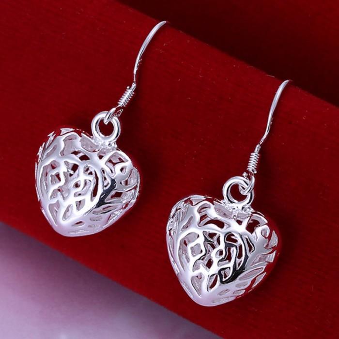 SE021 Silver Jewelry Flower Heart Dangle Earrings For Women