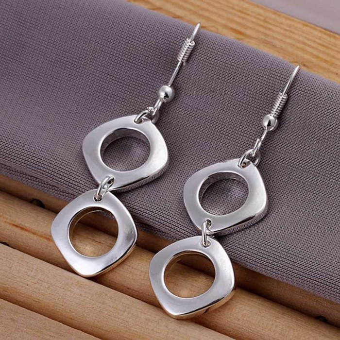 SE024 Silver Jewelry 2Square Dangle Earrings For Women