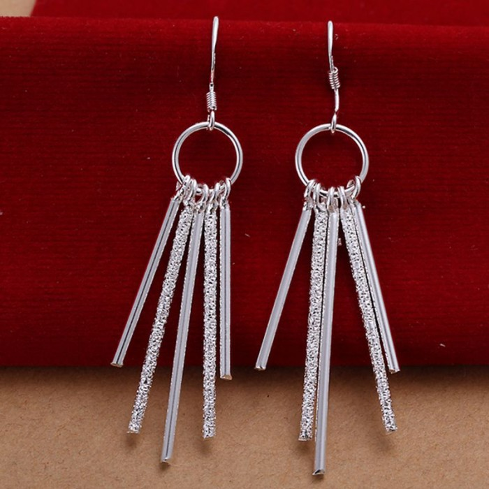 SE026 Silver Jewelry Circle&5Bar Dangle Earrings For Women