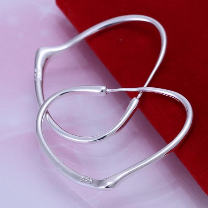 SE028 Silver Jewelry Heart Hoop Earrings For Women
