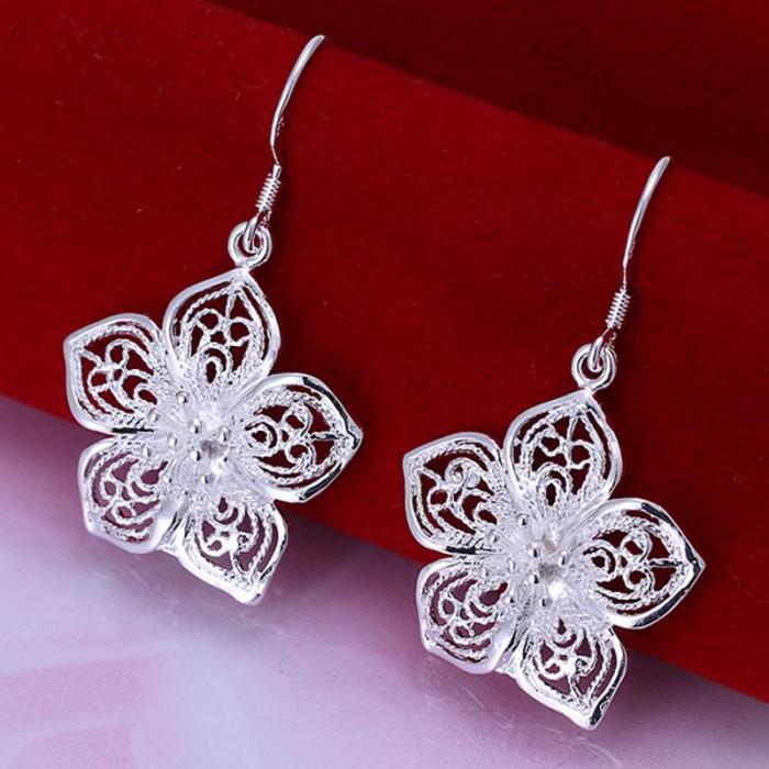 SE035 Silver Jewelry Flower Dangle Earrings For Women
