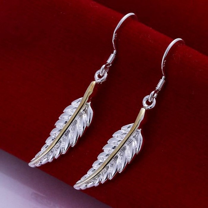 SE038 Silver Jewelry Gold feather Dangle Earrings For Women