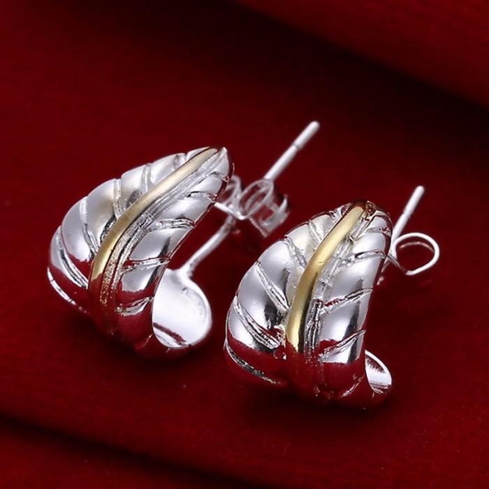 SE039 Silver Jewelry Gold Feather Stud Earrings For Women
