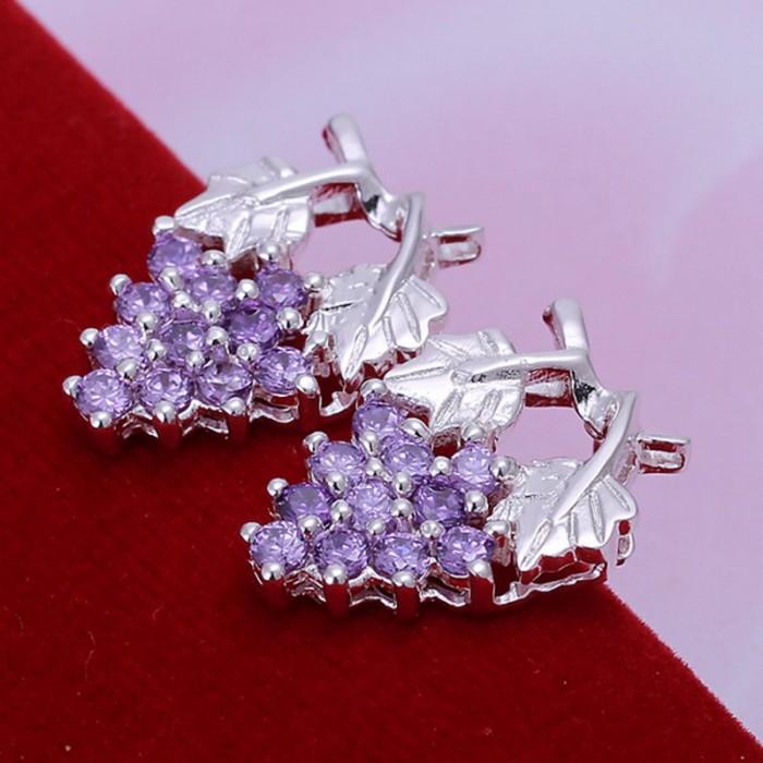 SE040 Silver Jewelry Purple Crystal Grape Stud Earrings For Women