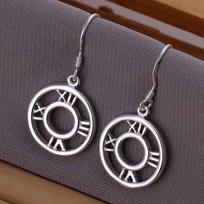 SE041 Silver Jewelry Roman Dangle Earrings For Women