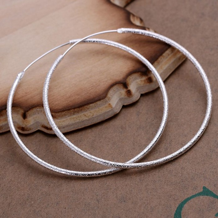SE044 Silver Jewelry Frosted Circle Hoop Earrings For Women