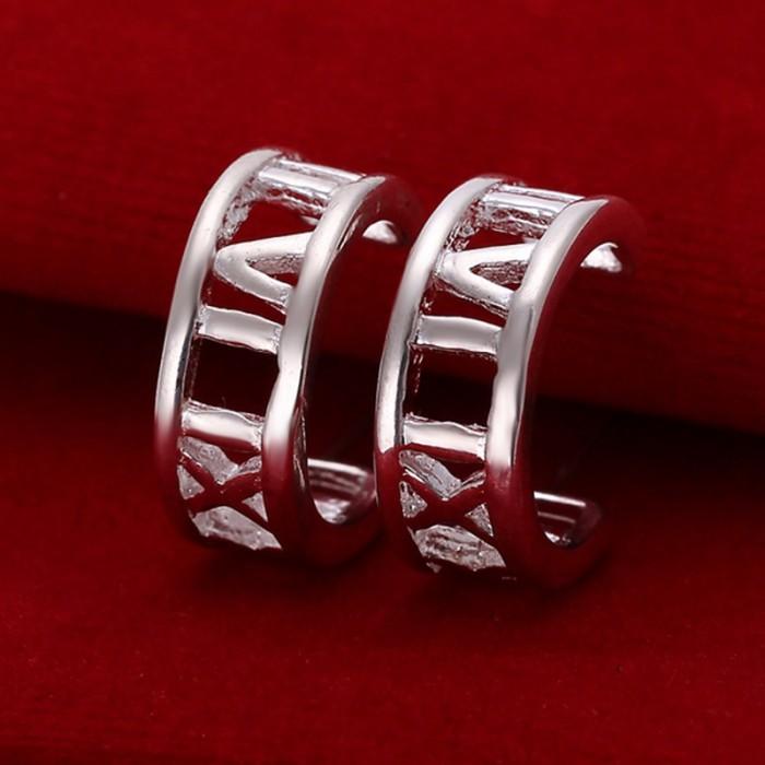 SE046 Silver Jewelry Roman Circle Stud Earrings For Women