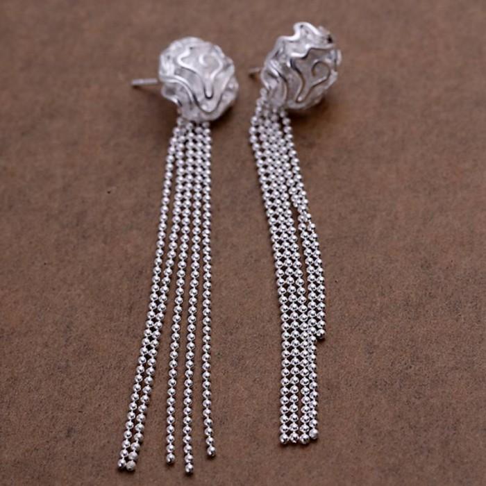 SE048 Silver Jewelry Rose&Long Chain Stud Earrings For Women
