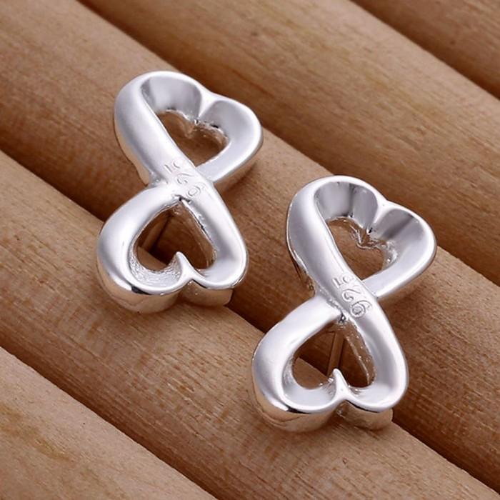 SE049 Silver Jewelry Heart&Heart Stud Earrings For Women