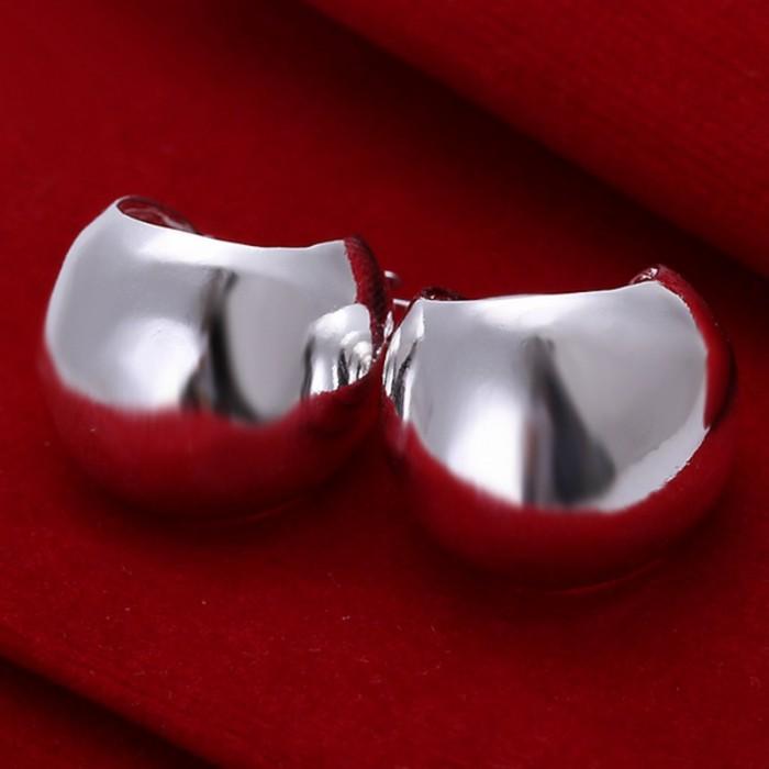 SE052 Silver Jewelry Bright Ball Hoop Earrings For Women