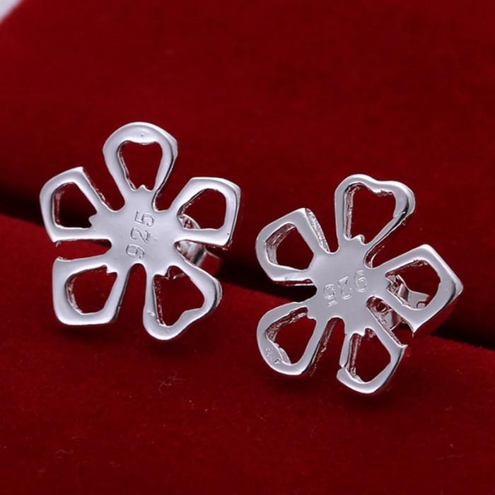 SE053 Silver Jewelry Flower Stud Earrings For Women