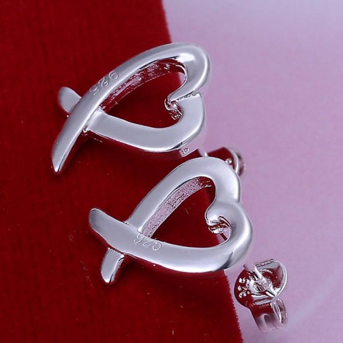 SE055 Silver Jewelry Heart Stud Earrings For Women