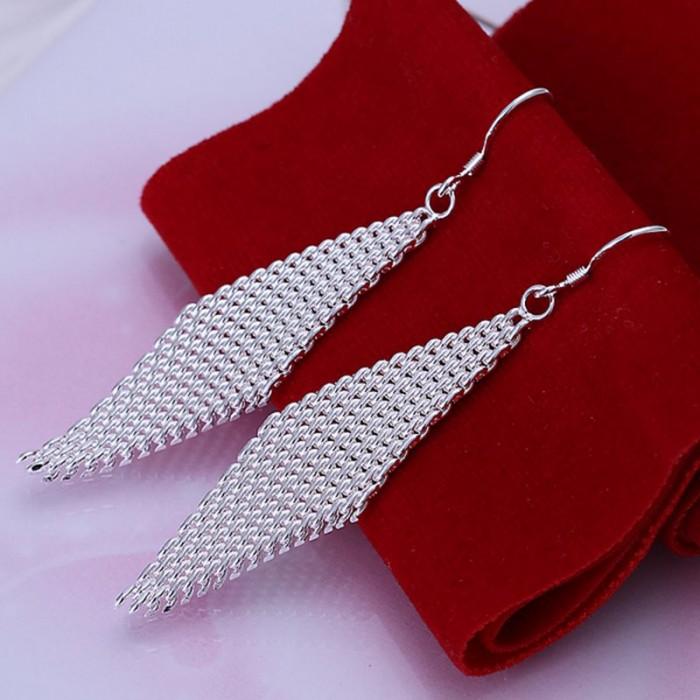 SE061 Silver Jewelry Mesh Rhombic Dangle Earrings For Women